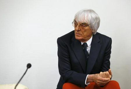 Formula One Chief Executive Ecclestone arrives back in courtroom after an ajournment at regional court in Munich