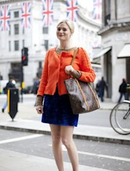 We love the colour of Pandora's Zara jacket, especially combined with the jewel tones of her beautiful vintage skirt