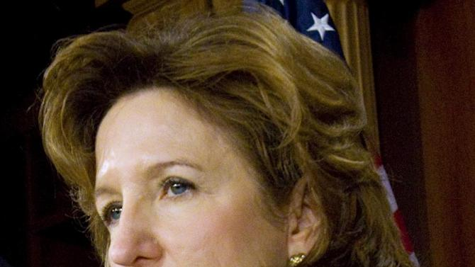 FILE - In this May 11, 2010 file photo, Kay Hagan, D-N.C. speaks at a news conference on Capitol Hill in Washington. For years, American opinion on gay marriage has been shifting. Now Washington is tripping over itself trying to catch up. In less than two weeks, seven sitting senators _ all from moderate or Republican-leaning states _ announced their support, dropping one by one like dominos. Taken together, their proclamations reflected a profound change in the American political calculus: For the first time, elected officials from traditionally conservative states are starting to feel it's safer to back gay marriage than risk being the last to join the cause. (AP Photo/Harry Hamburg, File)