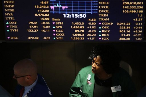 "<p>Traders work on the floor of the New York Stock Exchange (NYSE) in New York City on December 20, 2012. US stocks dipped during a shortened Christmas Eve session Monday amid pessimism about prospects for a ""fiscal cliff"" deal by the end of the year.</p>"