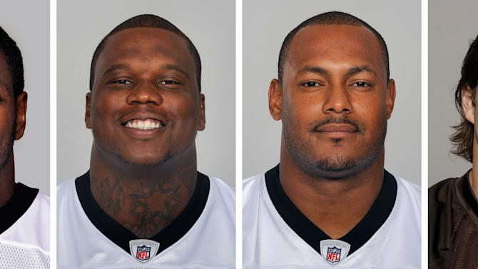 FILE - From left are NFL football players Jonathan Vilma, in 2011; Anthony Hargrove, in 2010; Will Smith, in 2011; and Scott Fujita, in 2011. New Orleans Saints linebacker Jonathan Vilma was suspended without pay for the entire 2012 season by the NFL, one of four players punished Wednesday, May 2, 2012, for participating in the team's cash-for-hits bounty system. Defensive lineman Anthony Hargrove, now with the Green Bay Packers, was suspended for the first half of this season; Saints defensive end Will Smith was barred for the opening four games; and linebacker Scott Fujita, now with the Cleveland Browns, will miss the first three games. All of the suspensions are without pay. (AP Photo/File)