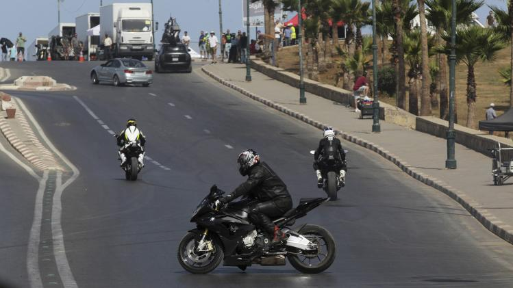 "A general view shows the filming of ""Mission Impossible 5"" in Rabat"