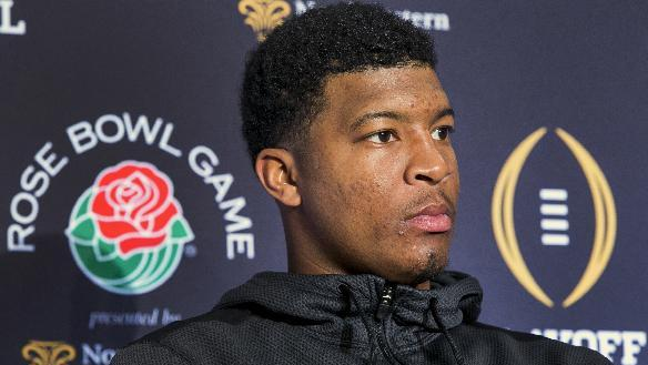Florida State quarterback Jameis Winston listens during a news conference in Los Angeles, Sunday, Dec. 28, 2014. Florida State takes on Oregon in the Rose Bowl on New Year's Day