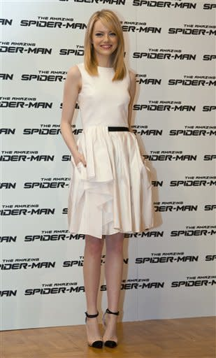 Actress Emma Stone poses during a photo call to promote the movie