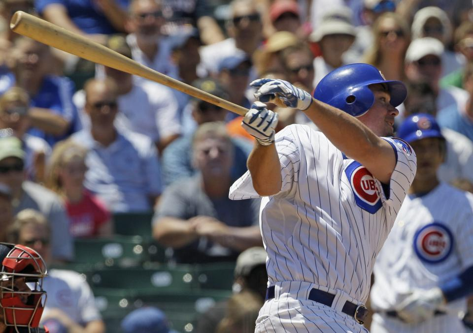 Chicago Cubs' Steve Clevenger hits a two-run double against the Boston Red Sox during the first inning of an interleague baseball game in Chicago, Friday, June 15, 2012. (AP Photo/Nam Y. Huh)
