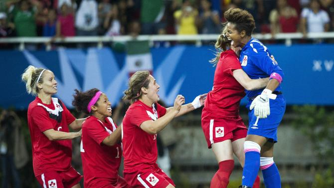 Canada goalkeeper Karina Leblanc, right, reacts after making the winning save in a shootout against Brazil to win the gold medal during women's soccer at the Pan American Games in Guadalajara, Mexico, on Thursday, Oct. 27, 2011. (AP Photo/The Canadian Press, Nathan Denette)