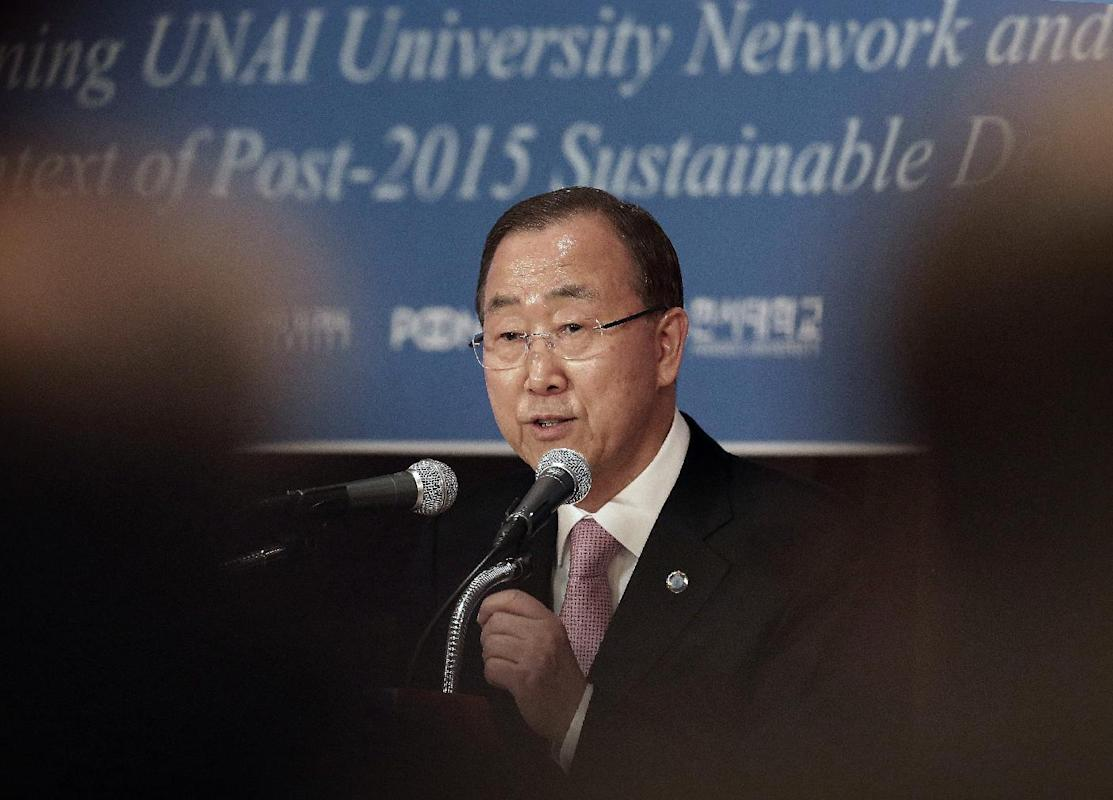 FILE - In this May 20, 2015 file photo, U.N. Secretary-General Ban Ki-moon speaks during the U.N. Academic Impact Seoul Forum in Seoul, South Korea. Ban will visit Pyongyang this week for a possible meeting with leader Kim Jong Un, a South Korean news report said Sunday, Nov. 15. The possible trip comes six months after Pyongyang at the last minute canceled an invitation for Ban to visit an inter-Korean factory park in the North Korean city of Kaesong. Ban has said North Korea gave no reason for the cancellation. He had not planned to visit Pyongyang at that time. (AP Photo/Ahn Young-joon, File)
