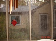 Sheets of rain on our screened porch Hurricane Sandy