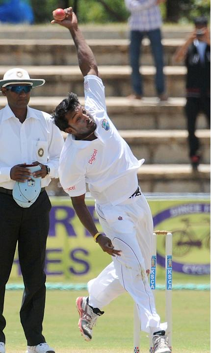 V Permaul of West Indies A team player in action, during the unofficial 1st Test Match between India A and West Indies A 3rd day at Gangothri Glades Cricket Ground, in Mysore on Sept. 27, 2013.(Photo:
