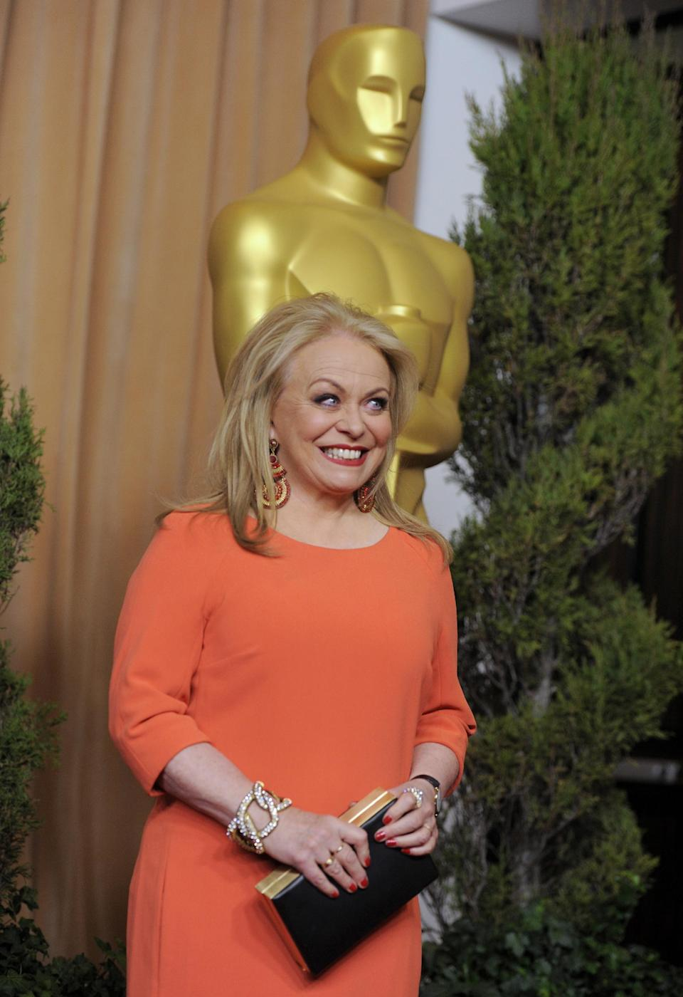 "Jacki Weaver, nominated for best actress in a supporting role for ""Silver Linings Playbook,"" arrives at the 85th Academy Awards Nominees Luncheon at the Beverly Hilton Hotel on Monday, Feb. 4, 2013, in Beverly Hills, Calif. (Photo by Chris Pizzello/Invision/AP)"