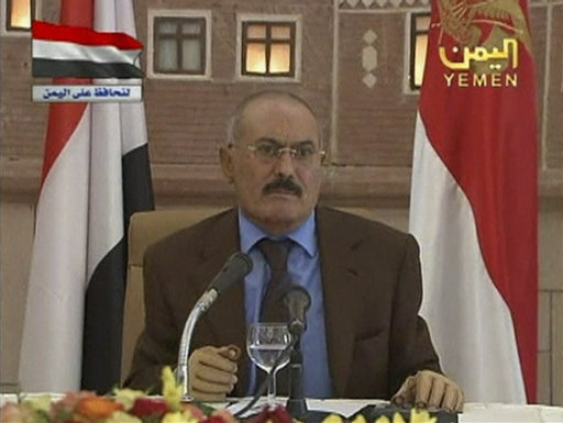 Yemen's President Ali Abdullah Saleh delivers his speech on state television in this still image taken from video