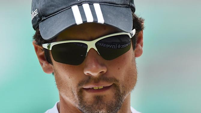 England's Alastair Cook attends a practice session at the Oval cricket ground in London on August 13, 2014, ahead of the fifth Test between England and India that starts at the Oval on August 15