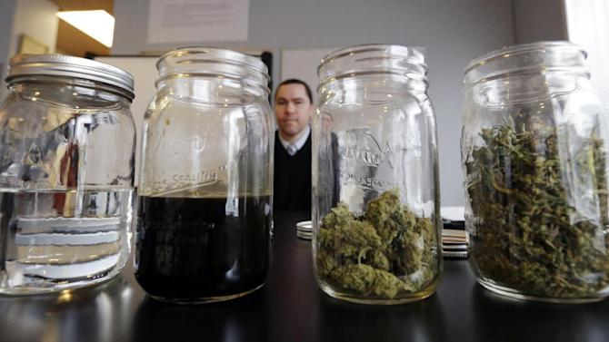 """In this photo taken Thursday, April 4, 2013, Cale Burkhart waits behind a table holding marijuana products for his turn to make a presentation about cannabis syrup at a medical marijuana facility in Seattle. From right are marijuana trim and """"B"""" grade buds, manicured buds, marijuana-infused glycerine and vegetable glycerine, used to dilute the infusion to the desired ratio for a tincture. Spreadsheets, statistics and bean-counting are Mike Steenhout's, comptroller of Washington's Liquor Control Board, regular realm of expertise. Now, he's a weed guy. Washington's vote last fall to legalize marijuana for adults over 21 and set up a system of state-licensed pot growers, processors and retail stores left dozens of Liquor Control Board employees in the position of having to research and help regulate a substance that many knew little to nothing about. While the state has hired a Massachusetts firm to serve as its official marijuana consultant, the Liquor Control Board is also doing its own work--a cannabis crash-course. (AP Photo/Elaine Thompson)"""