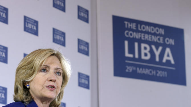 Secretary of State Hillary Rodham Clinton speaks during a news conference at the Foreign and Commonwealth office in London, Tuesday, March 29, 2011, after attending the London Conference on Libya. (AP Photo/Susan Walsh, Pool)