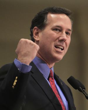 Republican presidential candidate, former Pennsylvania Sen. Rick Santorum speaks at the Summit County Lincoln Dinner Saturday, Feb. 18, 2012, in Akron, Ohio. (AP Photo/Tony Dejak)