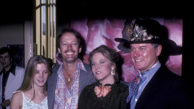 Bridget Fonda, Peter Fonda, Heidi Hagman and Larry Hagman attend Heidi Hagman Art Exhibition on February 7, 1981 at the Arthur Elrod Showroom in Palm Springs -- Getty Images