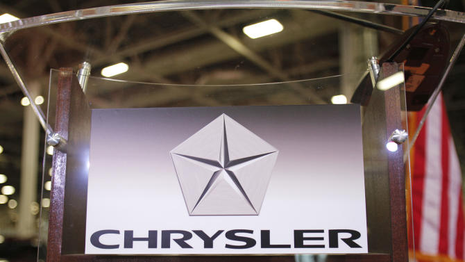 DETROIT, MI, - APRIL 26: The Chrysler Group logo is attached to a podium at Chrysler's Jefferson North Assembly Plant where former Polish President and Nobel Peace Prize winner Lech Walesa will speak April 26, 2012 in Detroit, Michigan. Chrysler reported a first quarter profit of $473 million, its largest quarterly profit since 1998. (Photo by Bill Pugliano/Getty Images)