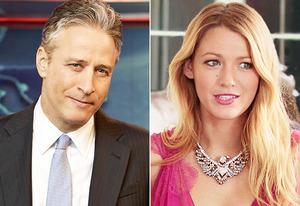 Jon Stewart, Blake Lively | Photo Credits: Martin Crook/Comedy Central, Giovanni Rufino/The CW