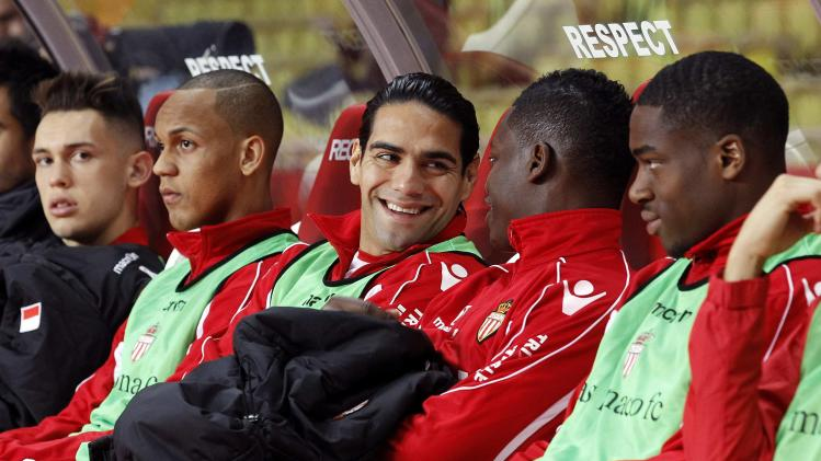 AS Monaco's Radamel Falcao is seen on the bench during their French Ligue 1 soccer match at Louis II stadium