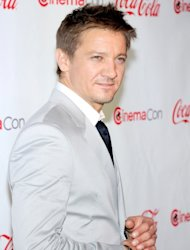 Jeremy Renner, recipient of the Male Star of the Year Award, arrives at the CinemaCon awards ceremony at the Pure Nightclub at Caesars Palace during CinemaCon, the official convention of the National Association of Theatre Owners in Las Vegas on April 26, 2012 -- Getty Images