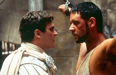 Commodus ( Joaquin Phoenix ) and Maximus ( Russell Crowe ) in Dreamworks' Gladiator