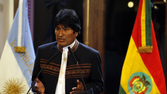 Bolivia's President Evo Morales delivers a speech during the inauguration ceremony of an Argentina-Bolivia gas pipeline at the government house in Buenos Aires, Argentina, Thursday, June 30, 2011. Morales will attend  the inaugural match of the Copa America  2011 in La Plata, between Argentina will face Bolivia on Friday. (AP Photo/Natacha Pisarenko)