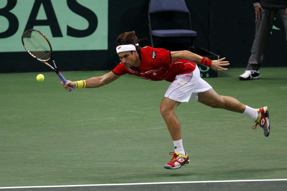 Spain's David Ferrer returns the ball to Czech Republic's Radek Stepanek during their Davis Cup finals tennis singles match in Prague, Czech Republic, Friday, Nov. 16, 2010. (AP Photo/Marko Drobnjakovic)