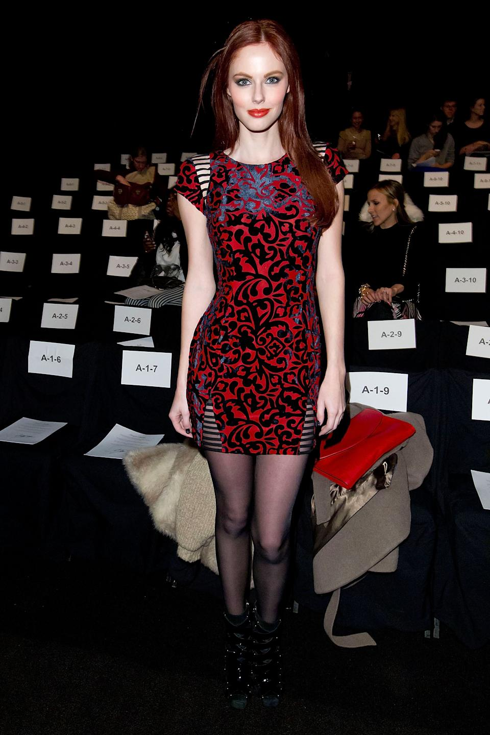 Alyssa Campanella attends the Fall 2013 Monique Lhuillier Runway Show, on Saturday, Feb., 9, 2013 in New York. (Photo by Ben Hider/Invision/AP)