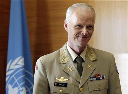 Major-General Robert Mood of Norway poses during a meeting with Joint Special Envoy for Syria, Kofi Annan at the United Nations in Geneva