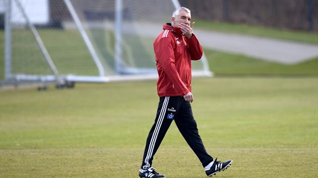 Hamburg SV's new coach Mirko Slomka is pictured during his first practice (Reuters)
