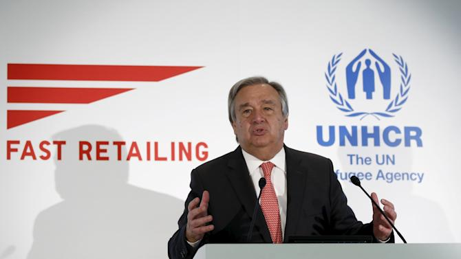 UNHCR Guterres speaks during a joint news conference with Yanai, chairman and chief executive of Fast Retailing Co, in Tokyo