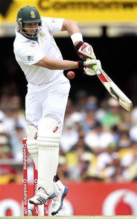 South Africa's Kallis plays a shot against Australia during the first cricket test match at the Gabba in Brisbane