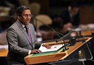 Maldives President Mohamed Waheed at the 67th session of the UN General Assembly September 27, 2012 in New York. The Maldivian government said Thursday it would seek to overturn a court decision to publicly flog a 15-year-old rape victim convicted of having premarital sex