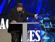Steve Van Zandt introduces Small Faces/Faces for induction into the Rock and Roll Hall of Fame Saturday, April 14, 2012, in Cleveland. (AP Photo/Tony Dejak)
