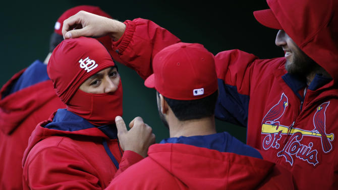 St. Louis Cardinals starting pitcher Michael Wacha, right, and Jon Jay, left, play around in the dugout before a baseball game against the Pittsburgh Pirates in Pittsburgh Saturday, April 5, 2014. The Cardinals won 6-1. (AP Photo/Gene J.Puskar)