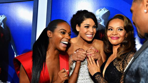 Actress Tika Sumpter, Actress/singer Jordin Sparks and actress Carmen Ejogo arrive at Tri-Star Pictures' 'Sparkle' premiere at Grauman's Chinese Theatre on August 16, 2012 in Hollywood, California. (Photo by Frazer Harrison/Getty Images)