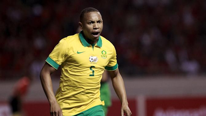 South Africa's Jali celebrates a goal against Costa Rica during their international soccer friendly match at the National stadium in San Jose