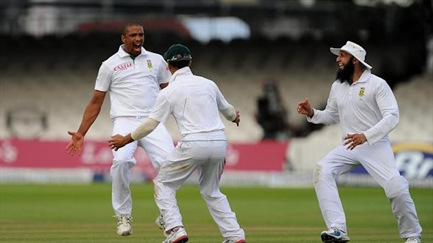 Vernon Philander, left, finished with five for 59