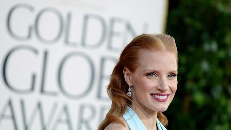 Actress Jessica Chastain arrives at the 70th Annual Golden Globe Awards at the Beverly Hilton Hotel on Sunday Jan. 13, 2013, in Beverly Hills, Calif. (Photo by Jordan Strauss/Invision/AP)