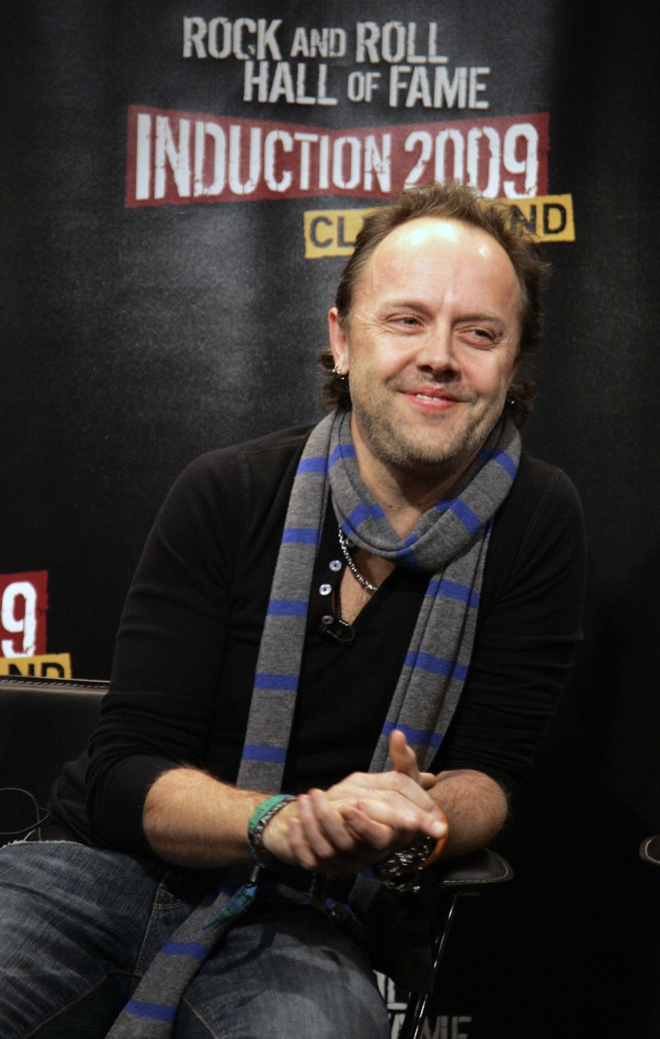 FILE - This Jan. 14, 2009 file photo shows Lars Ulrich of the band Metallica during a news conference in New York after it was announced that Metallica will be inducted into the Rock and Roll Hall of Fame. (AP Photo/Jeff Christensen, file)