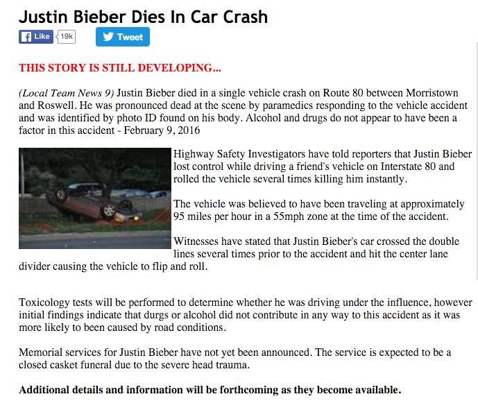 Is Justin Bieber Dead? This Site Has the Internet Constantly Calling Wolf