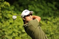Handout photo from OneAsia shows Korea's Kim Kyung-Tae during a practice round for the GS Caltex Maekyung Open Golf Championship in Seoul on May 9. Kim is bidding for a third title when he begins his defence on Thursday