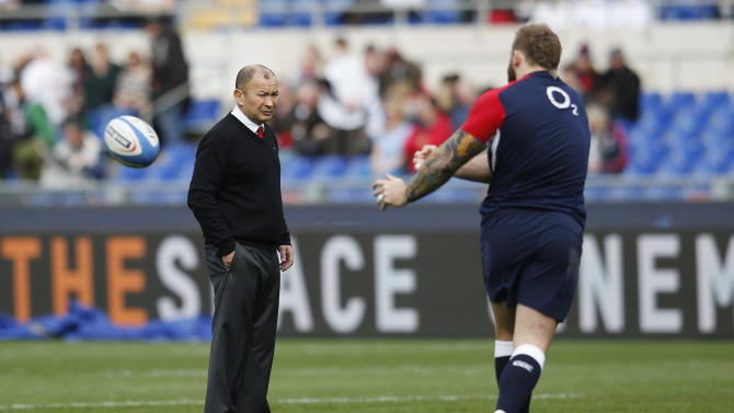 England head coach Eddie Jones watches over the warm up before the game