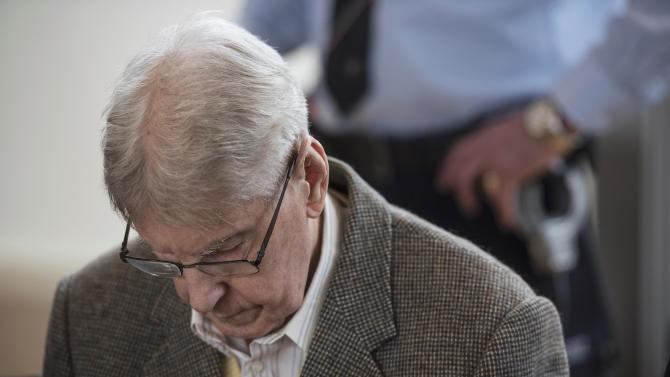 Reinhold H., a 94-year-old former guard at Auschwitz sits in the courtroom ahead of his trial in Detmold
