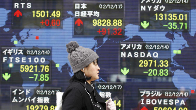 A woman walks by a world stock index display of a securities firm in Tokyo Monday, Dec. 17, 2012. Japan's Nikkei 225 index jumped 1.6 percent to 9,891.15, its highest level since April, after the country's Liberal Democratic Party swept back into power at weekend elections. (AP Photo/Koji Sasahara)