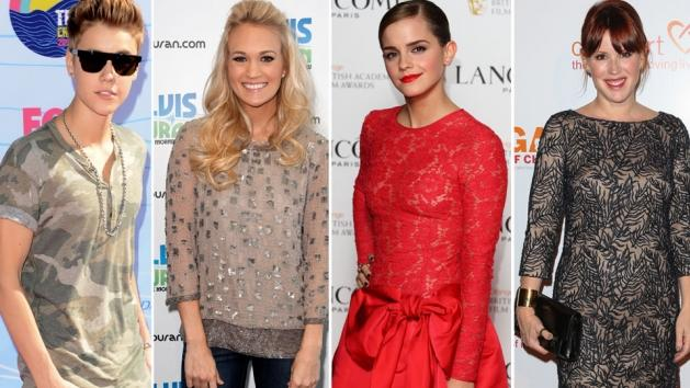 Justin Bieber, Carrie Underwood, Emma Watson, Molly Ringwald -- Getty Images