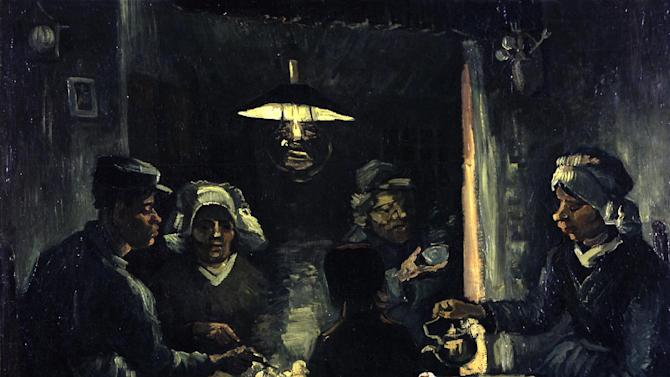 """In this photo provided by the Kroeller-Mueller Museum in Otterlo on Tuesday, Dec. 11, 2012 the 1885 painting """"The potato eaters"""" by Vincent van Gogh is seen. With the Van Gogh Museum in Amsterdam closed for renovations, the world's second-largest collection of the tortured Dutch master's work is stepping into the limelight. The lesser-known Kroeller-Mueller museum in the eastern Netherlands has revamped the layout of its central rooms, giving more space and focus to many of its top works. (AP Photo/ Kroeller-Mueller Museum)"""