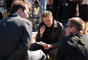 Nicolas Cage and Ethan Hawke with director Andrew Niccol on the set of Lions Gate Films' Lord of War