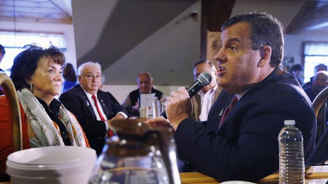 Republican presidential candidate, New Jersey Gov. Chris Christie speaks at a town hall-style campaign stop at the Strafford Farms Restaurant, Friday, Feb. 5, 2016, in Dover, N.H. (AP Photo/Robert F. Bukaty)