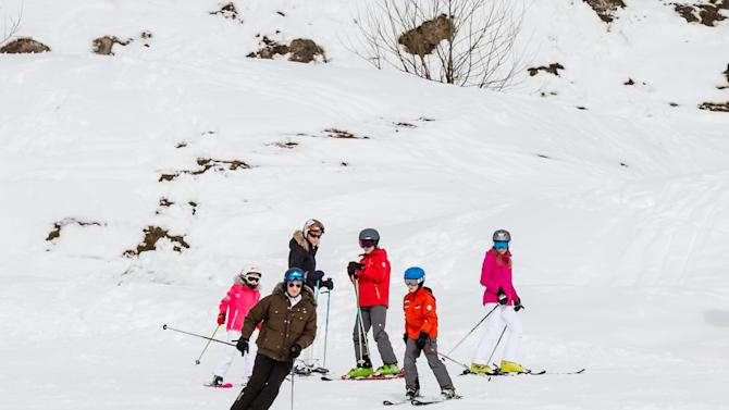 Belgium's King Philippe, Queen Mathilde and their children ski during their ski holidays in the village of Verbier